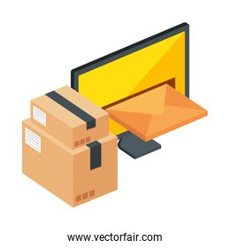 computer with envelope and boxes packages