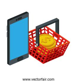 smartphone device with basket shopping and pile coins