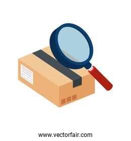 box package with magnifying glass isolated icon