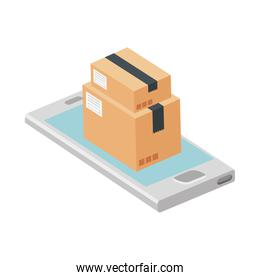 boxes package with smartphone isolated icon