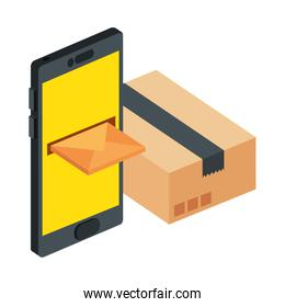 box package with smartphone and envelope isolated icon
