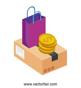 box package with bag shopping and coins isolated icon