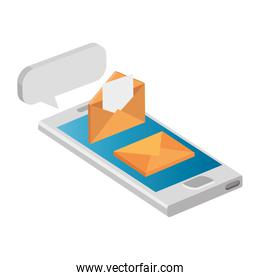 envelopes mail with smartphone isolated icon