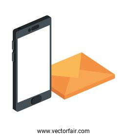 envelope mail with smarttphone isolated icon