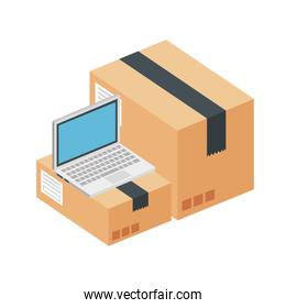 boxes packages with laptop isolated icon