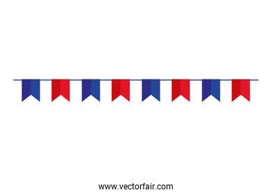 garlands hanging blue and red color isolated icon