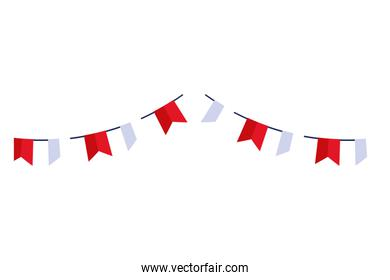 garlands hanging red and white color isolated icon
