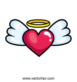 heart with wings pop art style icon
