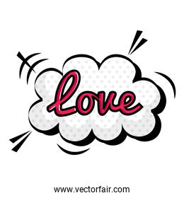 love sign in cloud pop art style icon over white