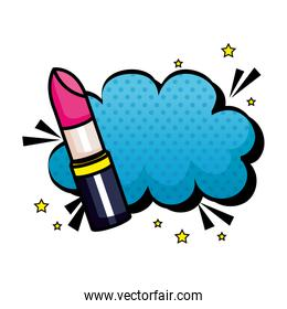 lipstick with cloud pop art style icon