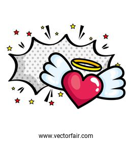 heart with wings and explosion pop art style icon over white