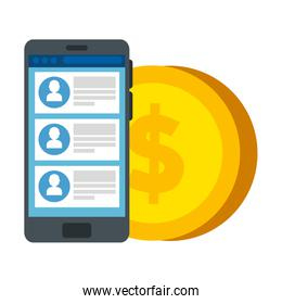 smartphone device with chat and coin