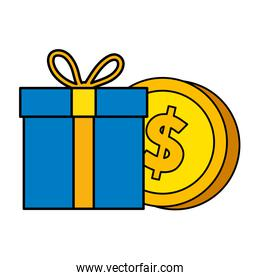 gift box with coin isolated icon