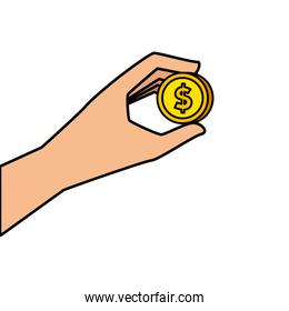 hand with coin money isolated icon