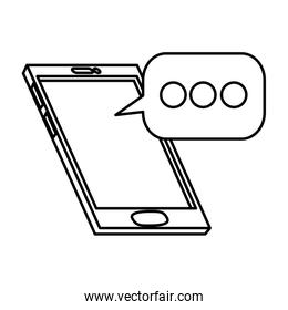 smartphone device with speech bubble isolated icon