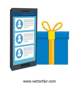 gift box with smartphone isolated icon