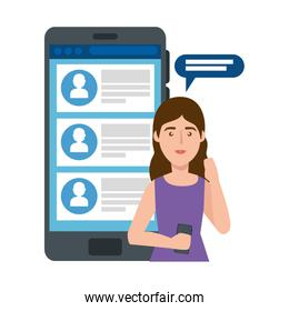 young woman and smartphone with chat