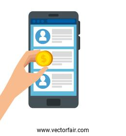 hand with coin and smartphone isolated icon