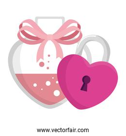 fragrance with heart bottle and padlock