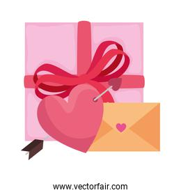 envelope with heart and gift box
