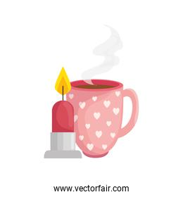 cup coffee with candle isolated icon