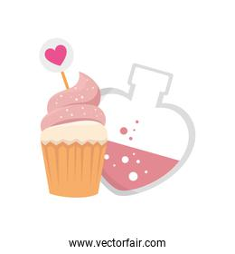 fragrance with heart bottle and cupcake