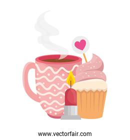 cup coffee with cupcake and candle
