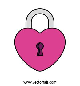 padlock in shape heart isolated icon