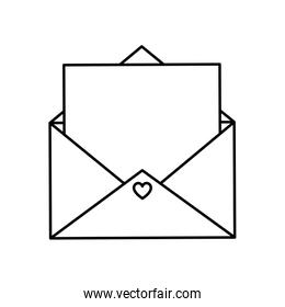 envelope open with heart isolated icon