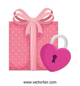 padlock in shape heart with gift box isolated icon