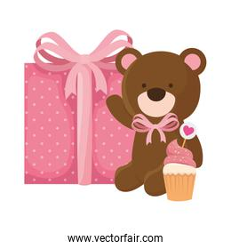 cute teddy bear with gift box and cupcake