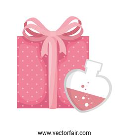 fragrance with heart bottle and gift box isolated icon