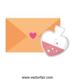 envelope and fragrance with heart bottle