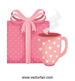 cup coffee with gift box icon
