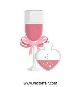 cup champagne and fragrance with heart bottle