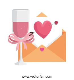 envelope with heart and cup champagne