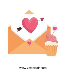 envelope with heart and cupcake