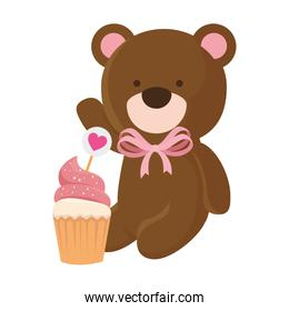 cute teddy bear with cupcake isolated icon