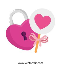 padlock in shape heart with decoration