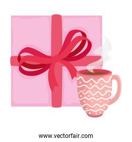 cup coffee with gift box isolated icon
