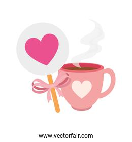 cup coffee and decoration with heart isolated icon