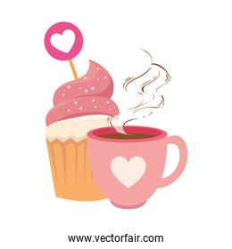cup coffee with cupcake isolated icon