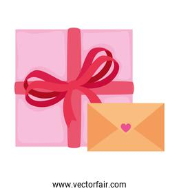 envelope with gift box isolated icon