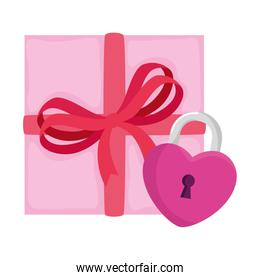 padlock in shape heart with gift box