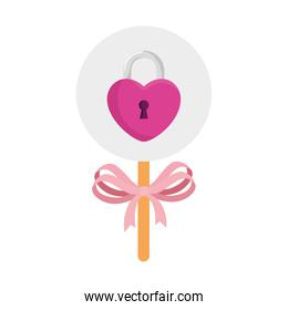 padlock in shape heart in stick isolated icon