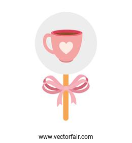 cup coffee in stick isolated design