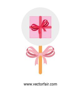 gift box present in stick isolated icon