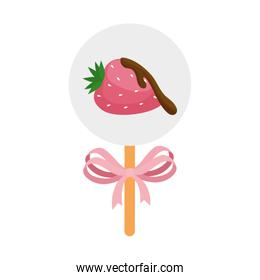 strawberry with chocolate in stick isolated design