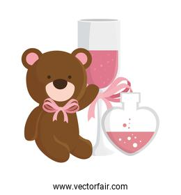 teddy bear with cup champagne and fragrance in heart bottle