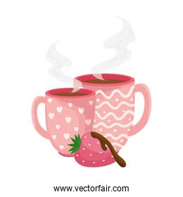 cups coffee with strawberry isolated icon